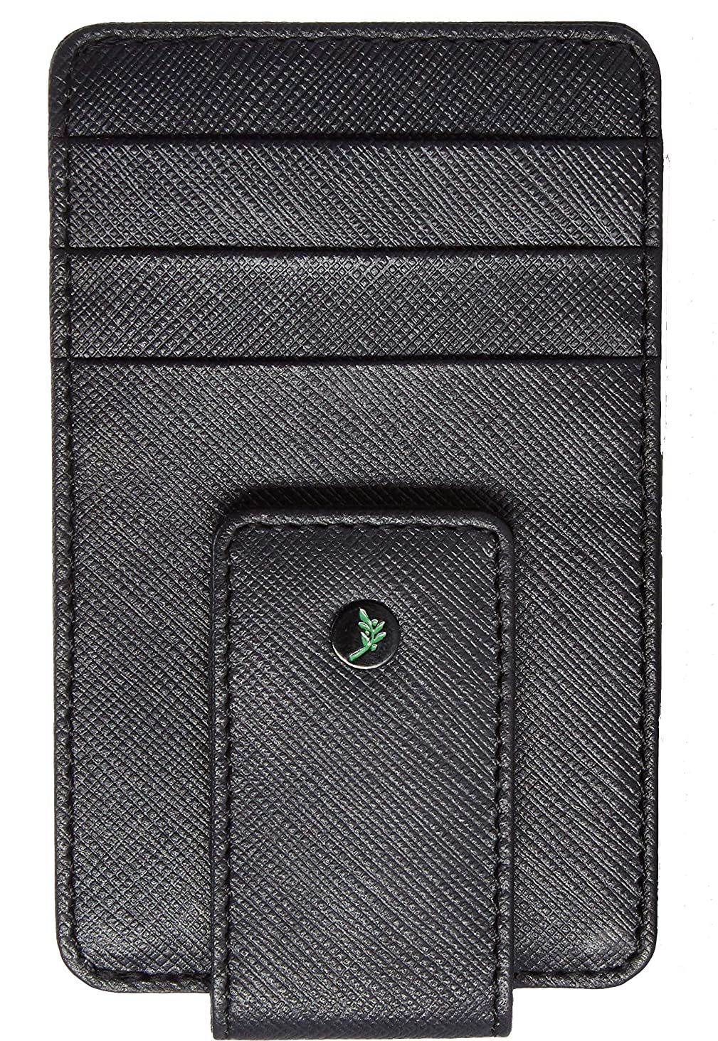 AULIV Full Grain Leather Magnetic Front Pocket Money Clip Wallet RFID Blocking with ID Window and Gift Box, Dark Tan