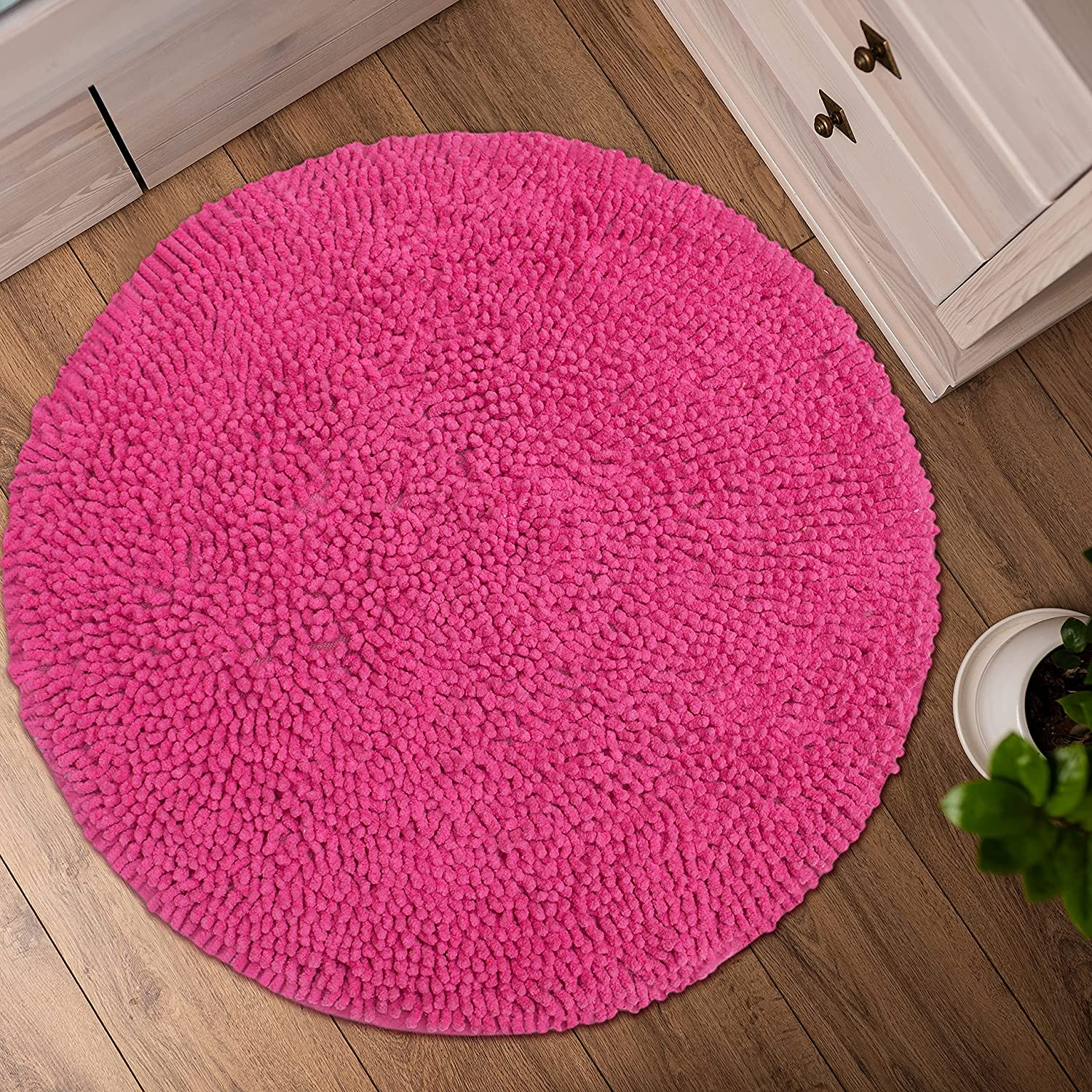 CHARDIN HOME Hot Pink Round Bath Mat   20 feet Boho Bathroom Rug   Also  Perfect for Kids Rooms, Nurseries, Bedside, dorms, Half Baths and Powder  Rooms ...