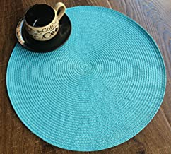 Mr Garden Indoor/Outdoor Round Knitted Place mat/Charger, Set of 1 (Blue)