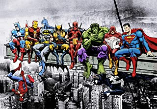 Marvel & DC Superheroes Lunch ATOP A Skyscraper: Featuring Captain America, Iron Man, Batman, Wolverine, Deadpool, Hulk, Flash & Superman by Dan Avenell - Art Print.Poster (23.4 x 33.1 in)