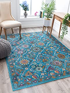 "Well Woven Sundi Blue Vintage Bohemian Panel Design Area Rug 5x7 (5'3"" x 7'3"")"
