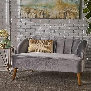 Scarlett Mid-Century Modern Velvet Sofa with Seashell Backrest, Pewter and Walnut