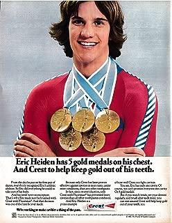 1980 Eric Heiden Speed Skater 5 Gold Medals Crest Original 13 * 10 Magazine Ad
