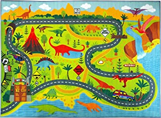"""KC CUBS Playtime Collection Dinosaur Dino Safari Road Map Educational Learning & Game Area Rug Carpet for Kids and Children Bedrooms and Playroom (3'3"""" x 4'7"""")"""
