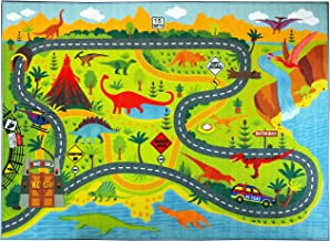 KC Cubs Playtime Collection Dinosaur Dino Safari Road Map Educational Learning & Game Area Rug Carpet for Kids and Children Bedrooms and Playroom (5'0