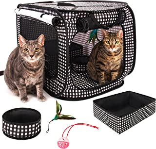 CHEERING PET, Cat Cage Portable Pop Up Pet Crate with Collapsible Litter Box, Foldable Feeding Bowl, Hanging Feather Teaser and Ball, Carrying Bag, Extra Large 32