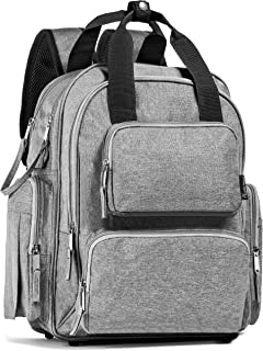Baby Diaper Bag Backpack-Large Capacity-Travel Bag-Mom or Dad-Stroller Straps-Neutral Grey-Shower Gift-Insulated Pockets-Bottom Studs-Changing Pad