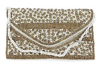 ADORA FASHION INDIAN HANDMADE CLUTCH BAG FOR WOMEN ADORA ACI 147 WHITE