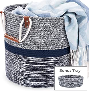 Blubinga Blanket Storage Basket – Giftable Cotton Rope Storage Basket for Blankets Living Room Organization & Décor – Large Blanket Basket for Blankets, Laundry, Toys, Pillows, Household Items