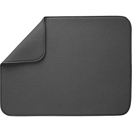 18 x 24 S/&T 530101 XL Dish Drying Mat Charcoal