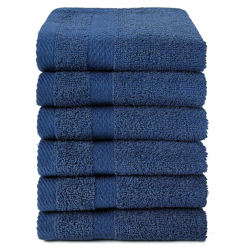 数字リーダーシップ分布Royal Ocean 100?%コットンextra-absorbentテリーWashcloths、12のセット ブルー O-TS-W1313-12-N