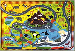 KC Cubs Playtime Collection Animal Safari Road Map Educational Learning & Game Area Rug Carpet for Kids and Children Bedrooms and Playroom (3' 3