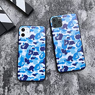 High Fashion Camo Print Hardshell Silicone Case for iPhone 11 iPhone 11 Pro iPhone 11 Pro Max with Matte Finish Bape Supreme Hypebeast Protective Slim Case (Blue Camo, iPhone 11)