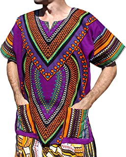 RaanPahMuang Spearhead Heart African Dashiki Shirt Vibrant Colors Afrika Style