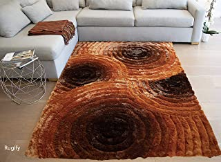 LA Neutral 3D Large Fluffy Fuzzy Flokati Striped Patterned Plush Soft Modern Contemporary Cozy Shag Shaggy Decorative Designer 8-Feet-by-10-Feet Polyester Made Area Rug Carpet Rug Orange Color