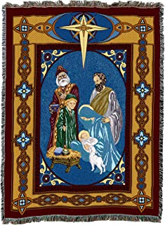 Pure Country Weavers   Nativity Wise Men Woven Tapestry Throw Blanket with Fringe Cotton USA 72 54