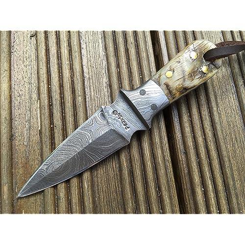 Perkin Knives Cuchillo de bushcraft Cuchillo de Caza pequeño Cuchillo de Damasco