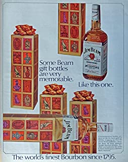Jim Beam Whiskey, 60's Print ad. Full Page Color Illustration (some Beam gift bottles are very memorable. like this one) Original Vintage 1968 Look Magazine Print Art