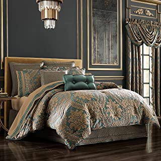 Five Queens Court Modesto Woven Jacquard 4 Piece Luxury Comforter Set, Emerald Green, King 110x96