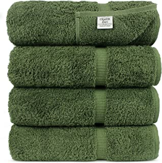 "Luxury Hotel & Spa 100% Cotton Premium Turkish Bath Towels, 27"" x 54 (Set of 4, Moss)"