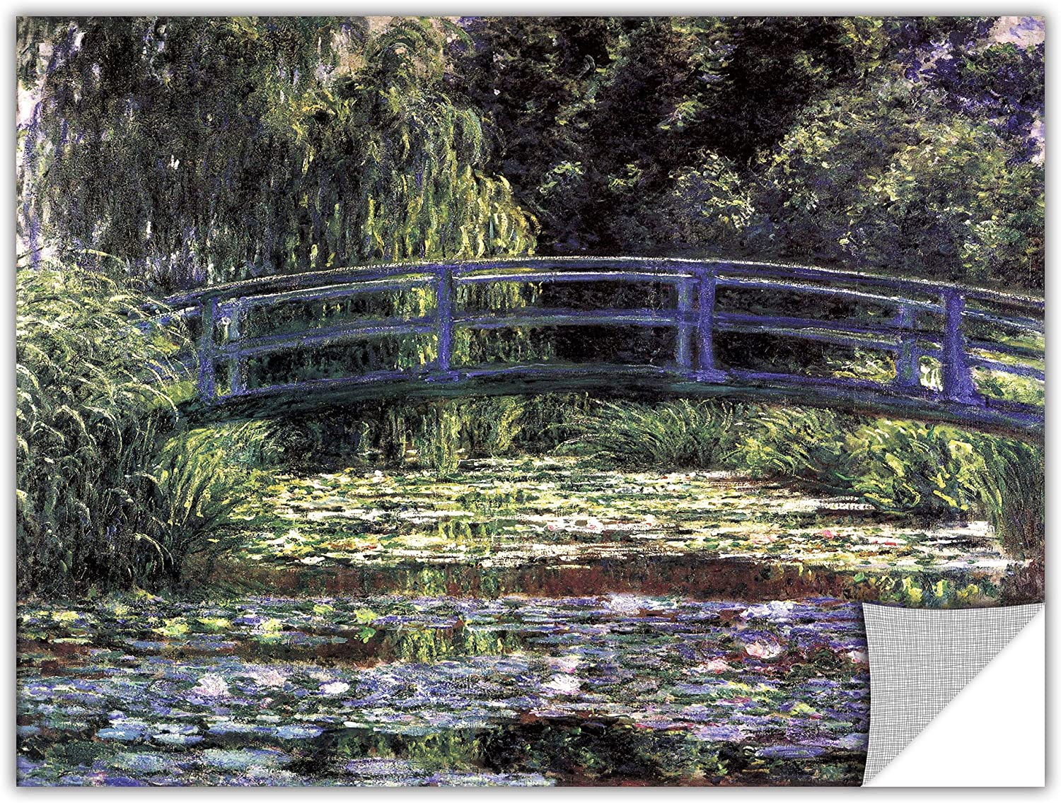 ArtWall 'Bridge at Sea pink Pond' Removable Wall Art by Claude Monet, 14 by 18-Inch