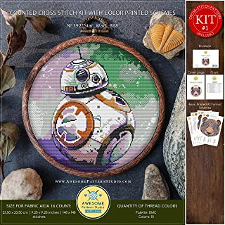 Star Wars BB8#K392 Embroidery Cross Stitch Kit   Movie Character Stitching   How to Cross Stitch   Cross Stitch Designs   Cross Stitch Embroidery