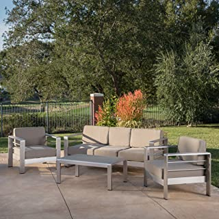 Christopher Knight Home Daisy Coral Outdoor 4 Piece Khaki Aluminum Chat Set with Khaki Water Resistant Fabric Cushions