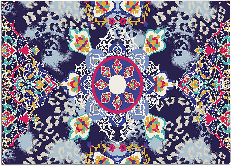 KESS InHouse Victoria Krupp Eastern Medallion bluee Multicolor Vector Dog Place Mat, 24  x 15