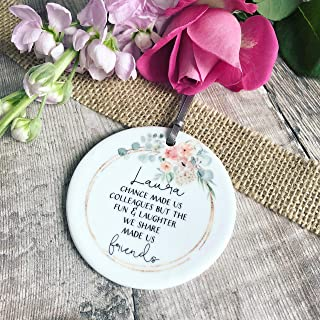 PotteLove Personalized Chance Made Us Colleagues Quote Blush Floral Ceramic Round Decoration Ornament Keepsake,Custom with Any Name and Date Porcelain Ornament
