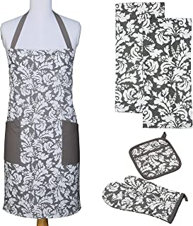 Yourtablecloth Kitchen Gift Set-1 Kitchen Apron, an Oven Mitt & A Pot Holder-2 Kitchen Dish Towels or Tea Towels-Ideal Cooking Gifts or Gift Ideas for Chefs-Suitable for Men & Women-Gray
