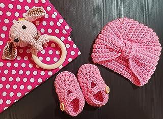 Scarpine + turbante uncinetto ballerine neonata prima nascita primo cambio turbante cappellino baby lana bebè 0-3 mesi bim...