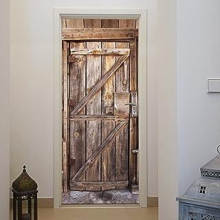 murimage Papel Pintado Puerta Madera 86 x 200 cm Incluyendo Pegamento Entrada tableros Vintage Antiguo rústico Cocina Foto...