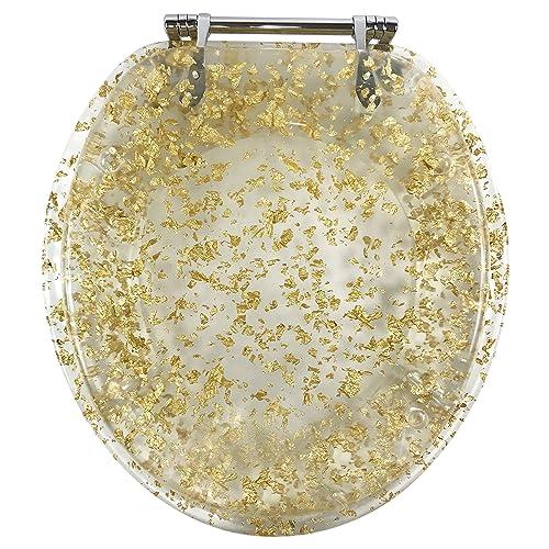 GOLD GLITTER SPARKLE BLING RESIN TOILET SEAT