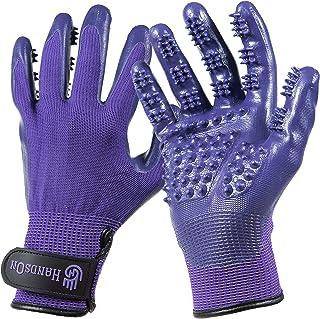 H HANDSON Pet Grooming Gloves - Patented #1 Ranked, Award Winning Shedding, Bathing, & Hair Remover Gloves - Gentle Brush ...