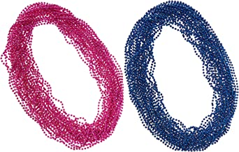 48 4 DOZEN MARDI GRAS BEADS HOT PINK /& BLUE GENDER REVEAL PARTY BABY SHOWER