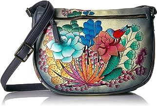 Anna By Anuschka Hand Painted Designer Leather Handbags for Women -Medium Crossbody