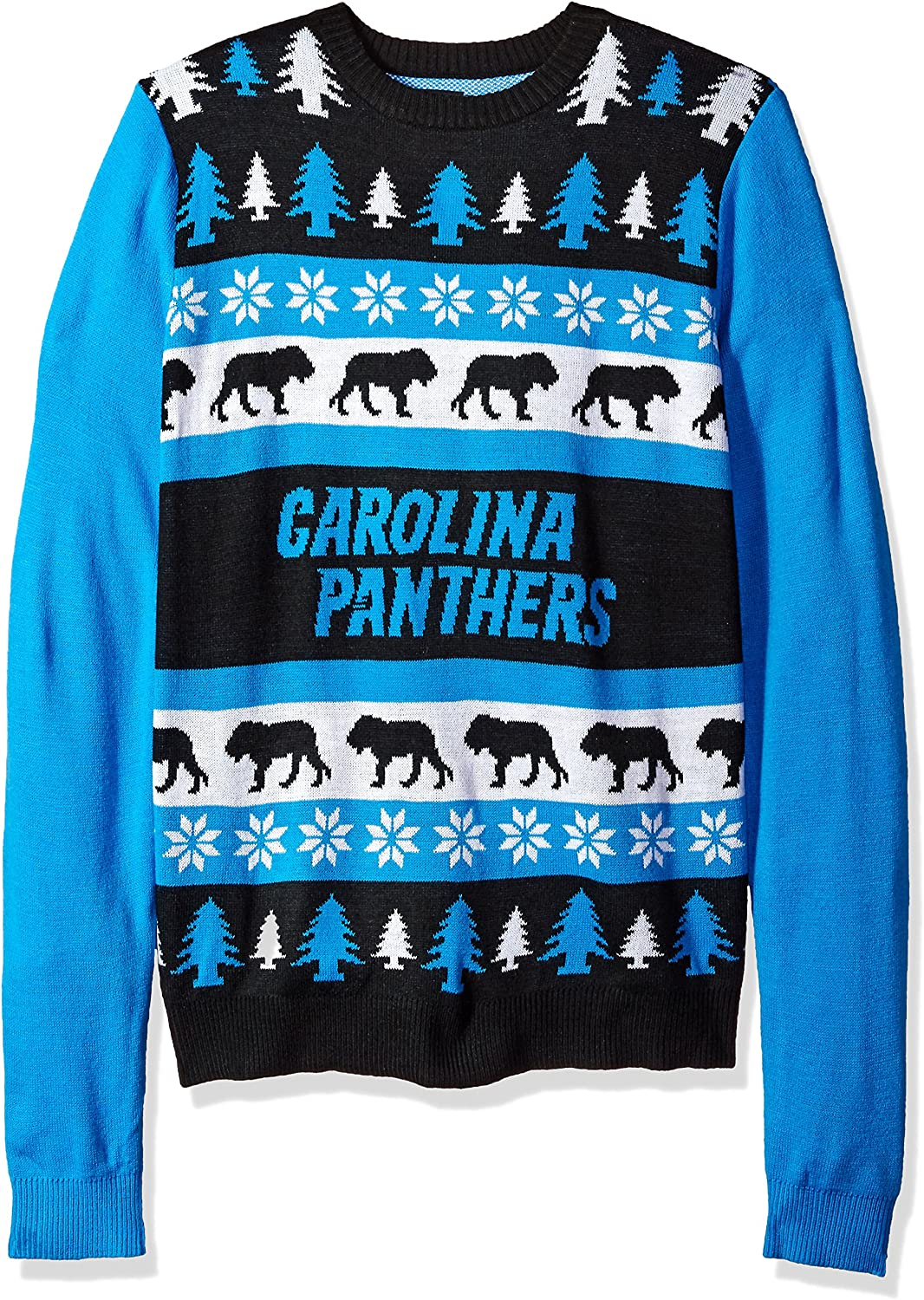 KLEW NFL Carolina Panthers Busy Block Ugly Sweater, blueee, X-Large