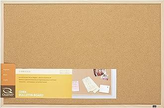 "Quartet Cork Board Bulletin Board, 23"" x 35"" Framed Corkboard, Oak Frame,.."