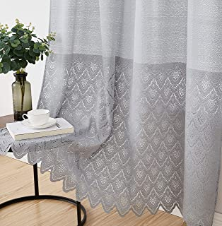 HLC.ME Monaco Premium Soft Decorative Ombre Lace Semi Sheer Light Filtering Rod Pocket Window Treatment Curtain Drapery Panels for Bedroom & Living Room - Set of 2 Panels (54 x 96 inches Long, Grey)