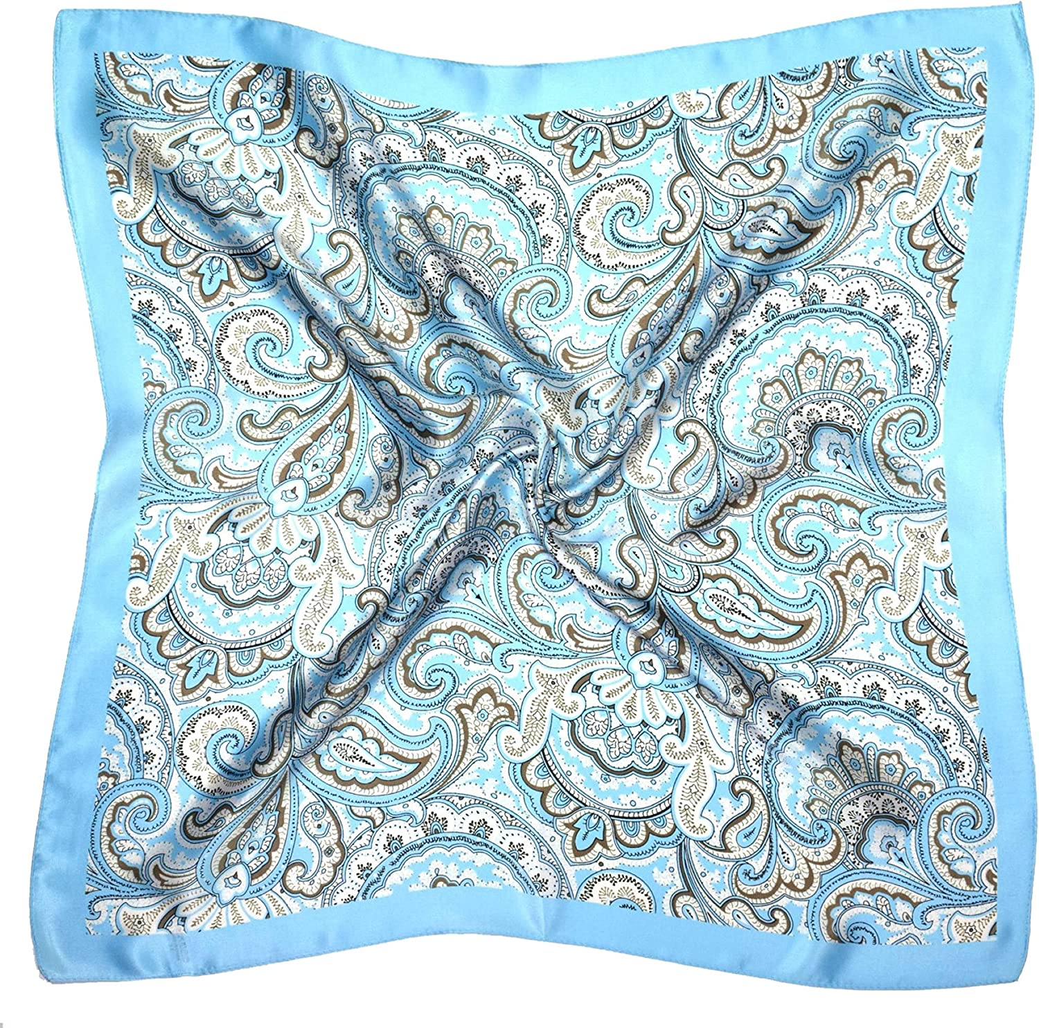 bluee Brown Paisley Print Thick Small Silk Square Scarf