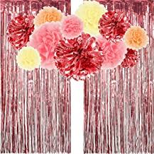 Cuddlex & Co. Rose Gold Party Decorations with Photo Backdrop - Metallic Rose Gold and Tissue Paper Pom Poms w/ Foil Fringe Curtains | Birthday Decorations | Bachelorette Party | Bridal Shower Decor