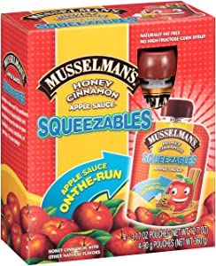 Musselman's Squeezable Honey Cinnamon Apple Sauce Pouches, 3.17 Ounce (Pack of 6)