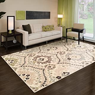 Superior Designer Augusta Collection Area Rug, 8mm Pile Height with Jute Backing, Beautiful Floral Scalloped Pattern, Anti-Static, Water-Repellent Rugs - Beige, 3' x 5' Rug