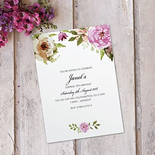 Surprise 50th 60th 70th 80th 90th Birthday Party Invitations For Women Floral Cards Invites Personalised