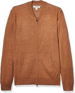 Goodthreads Amazon Brand Men's Merino Wool/Acrylic Bomber Sweater, Camel XXX-Large