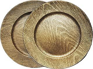 Wood -Grain Golden Charger Plates