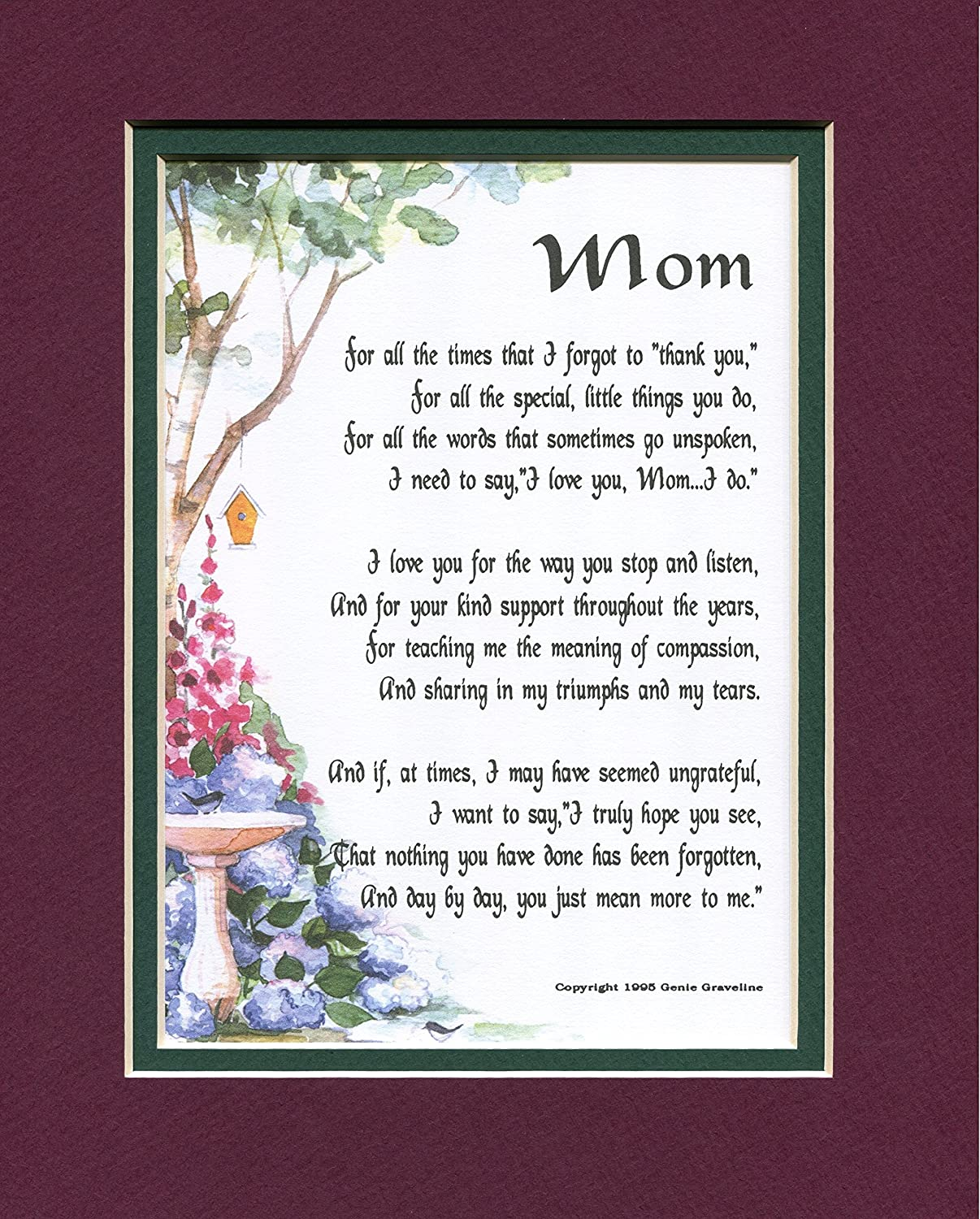 Amazon Com Mom Poem Mother Poem Mom Print Mother Print Mom Verse Mother Verse Mom Saying Mother Saying 8x10 Double Matted Print Moms Birthday Mothers Birthday Home Decor Gift Packages Posters Prints Honor your mother with these wonderful poems. mom poem mother poem mom print mother print mom verse mother verse mom saying mother saying 8x10 double matted print moms birthday mothers