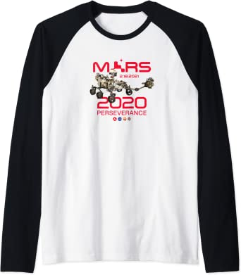 Jour de l'atterrissage de Perseverance Rover Mars 2020 Manche Raglan