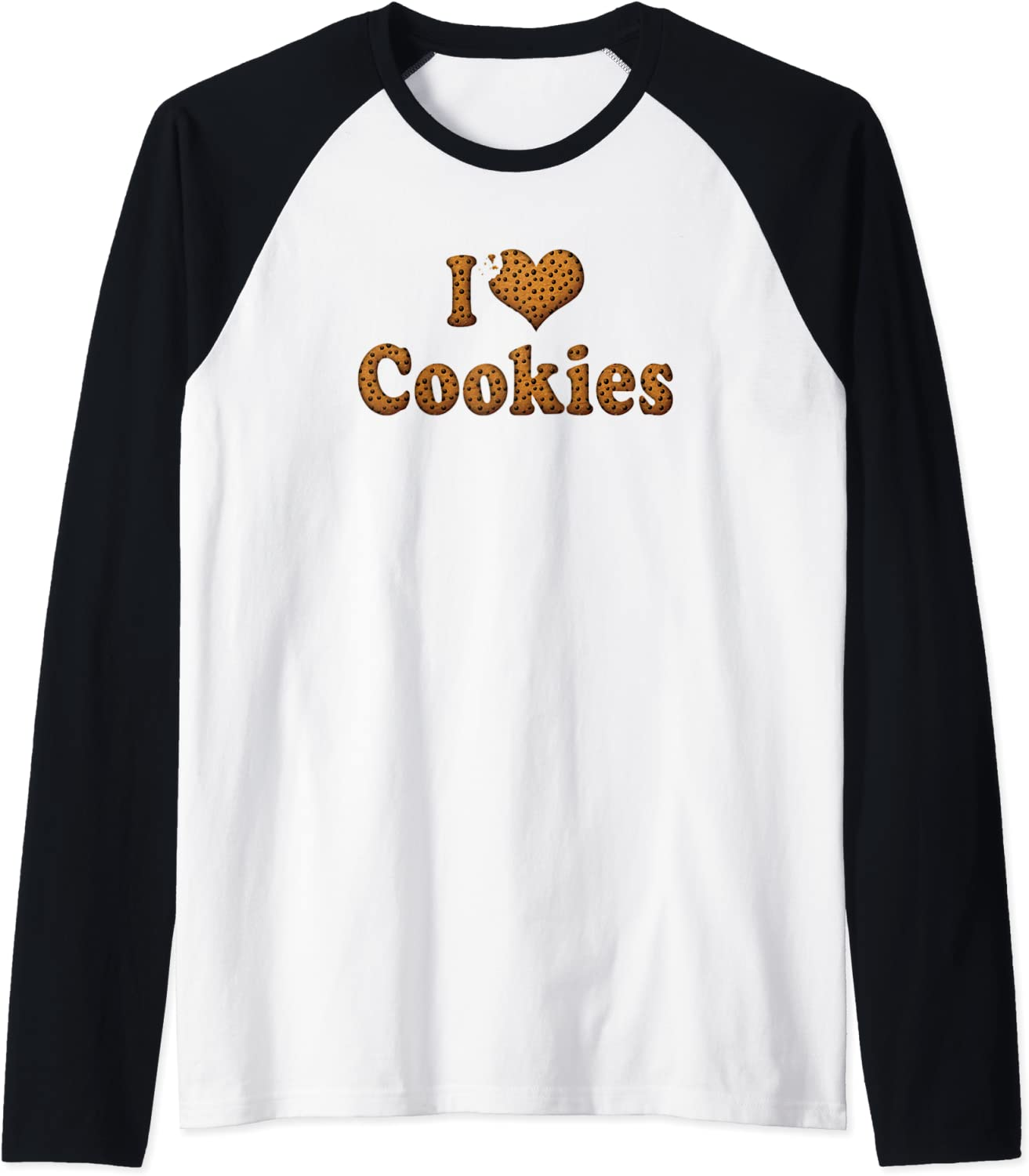 I Love Red Heart Cookies Chocolate Chip Junk Food Sugar Raglan Baseball Tee