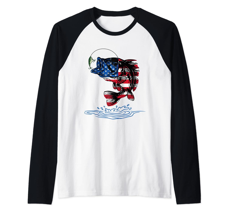 Bass Fishing Usa 4th Of July American Flag Baseball Shirts